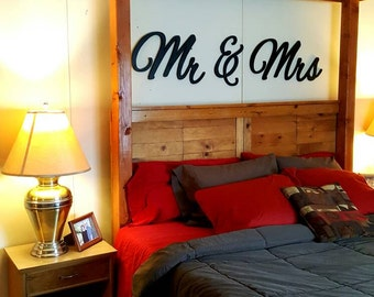 Mr & Mrs wall hanging, above bed decor, master bedroom decor, wall decor, home decor Mr and Mrs, Wedding Gift
