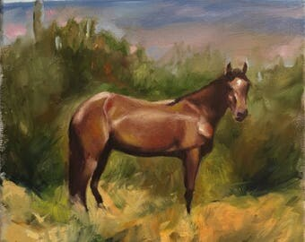 "Western Painting of Horse 12""x12"""