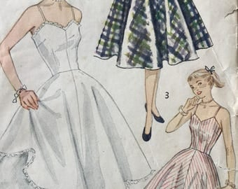 """1950s Junior Misses' and Misses' Slip and Petticoat, Simplicity 3766, vintage sewing pattern, Size 14 Bust 32"""""""