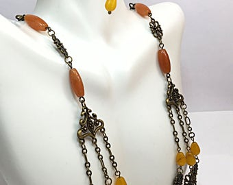 Rustic Bohemian Necklace - Christmas in July - Yellow Jade Necklace - Anniversary Gift - Necklace & Earring Set - Necklace Set - Gift Ideas