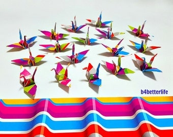 "100pcs Multi-colored 1.5"" Origami Cranes Hand-folded From 1.5""x1.5"" Square Paper. (WR paper series). #FC15-53."