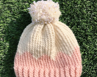 Handmade made for your mini soft pink scalloped hat with gold flecked pom pom