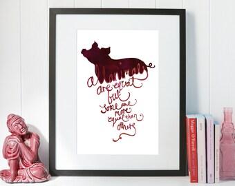 George Orwell's Animal Farm Typographic Quote A4 Print
