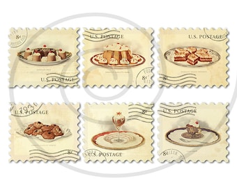 Food stamps. Old postage stamps. Vintage fake stamps. Postage stamp art. Chocolate desserts digital collage sheet #1. Instant download. PNG