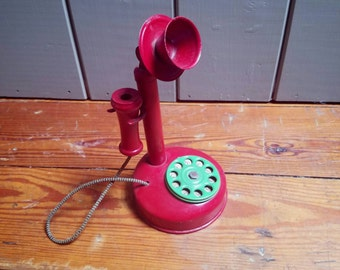 1930s Antique Candlestick Toy Metal and Wood Kids Phone Red