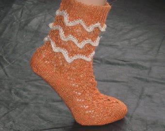 Hand-knitted Openwork Hemp Socks, Women's Socks, Eco-friendly socks , Organic hemp, Hand Knit, Therapeutic, Vegan, Antibacterial