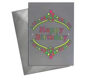 Neon Happy Birthday Card