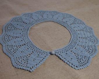 BLUE CROCHET COLLAR; Made by VerLen crochet