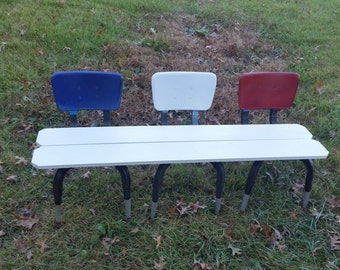3 seat kids bench made from chairs