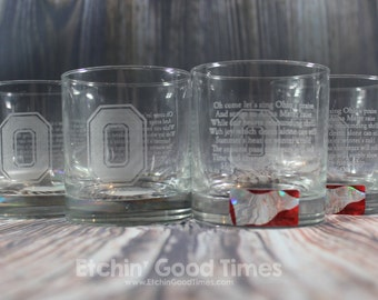 Ohio State Rocks Glass - Officially licensed Ohio State Carmen Ohio Rocks Glass Set of 4