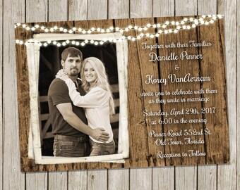 Rustic Wood Wedding Invitation, String of Lights, Country Wedding, Fairytale Wedding Invitation