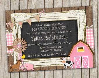 Girl Farm Birthday invitation, Pink, farm animal,  barn, rustic wood, printable invitation
