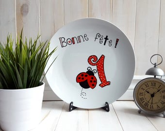Plate Hand Painted Happy Birthday 1st Year Old Kid Daughter Child Gift Ideas Ladybug Girl Red
