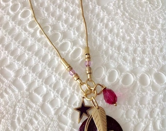 Handmade necklace, charm necklace, gold matte plated necklace
