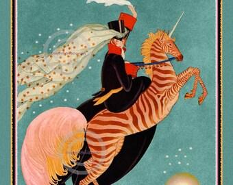 Art Deco Unicorn Print, Vogue fashion, whimsical girl riding a Unicorn , jumping over the moon, George Plank, 1927, Giclee wall art, 12x18