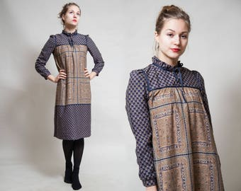 Blue and Beige Midi Dress/ Ruffled Collar with String/ Slong Sleeve Boho Dress/ Square Ornaments/ Faded Artistic Dress  • Size Small •