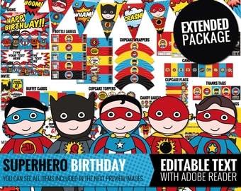 Superhero Birthday Decorations Package. Editable Printable Comic Book Decor. Funny Kids Birthday Party. Boy Baby Superheroes Theme Download