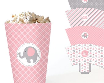 Elephant Popcorn Boxes - Pink and Grey Baby Shower Favor Boxes - Printable Treat Boxes - Baby Girl Shower Candy Box - DIY Table Decor