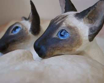Handmade paper clay papier mache sculpture of two siamese cats (example only, this commission has sold)
