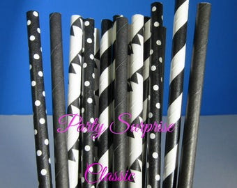 Black and White Straws Combination Set Black Polka Dots Stripes Pennant Flags and Solid Black Wedding Birthday Party Classic Straws