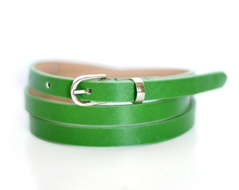 Free shipping! Woman leather belt, green belt, bright green belt, green leather belt, skinny belt, waist belt, light green belt