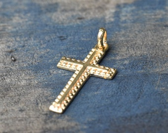 GOLD cross, beaded gold cross, solid 9K 9ct religious Christian, cross for school, Baptism gift, Confirmation, Communion, First Easter, NOS