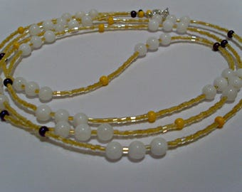 Long Delicate Beaded Necklace, White Jade Necklace, Layering Necklace, Semi Precious Stones, Seed Bead Necklace, Beaded Wrap Bracelet