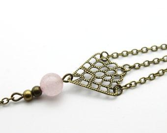Bracelet scales bronzed channels and quartz rose