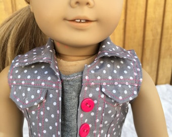 "Gray polka dolt vest for 18"" doll like American Girl doll clothes"