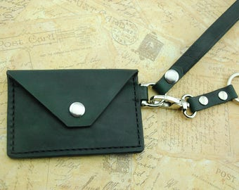 Forest Green Leather minimalist wallet with wristlet and key chain/key fob, hand stitched and dyed, small wallet, veg tanned leather