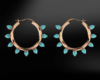 TURQUOISE Hoop Gold Earrings