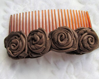 Hair comb, brown leather roses on a hair comb, leather flower hair accessory, brown flower comb, gift for her, real leather flowers, Ruby62