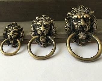 Lion Drawer Pull Knobs Handles Dresser Drop Pulls Rings /