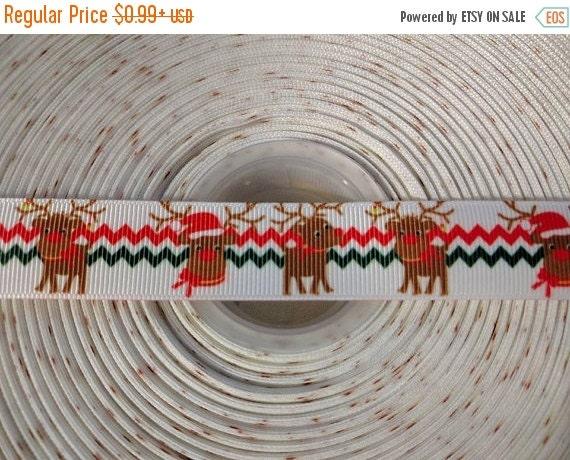 """HOT DEAL RUDOLPH Reindeer 7/8"""" 22mmGrosgrain Hair Bow Craft Ribbon 782978"""