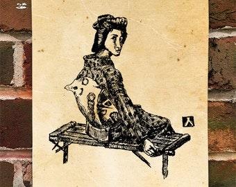 "KillerBeeMoto: Limited Hand Drawn Print of ""Sitting Geisha"" Print 1 of 100"