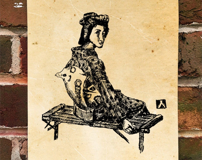 "KillerBeeMoto: Limited Hand Drawn Print of ""Sitting Geisha"" Print 1 of 100"