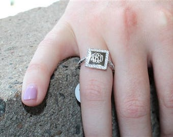 Monogrammed Sterling Silver Ring, Engraved Ring, Square CZ Ring, Solitare