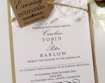 10 personalised wedding invitations invite rustic kraft vintage twine lace tag shabby chic - Wedding Invitations Rsvp