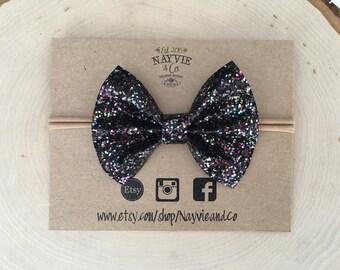 Black multi-color glitter bow or clip | glitter bow | black | newborn | baby | toddler | girl | photo prop | birthday |
