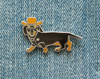 Dachshund, Get A Long Little Doggie Enamel Pin // Puppy Dog, Hard Enamel, Cloisonne, Accesories, Flair
