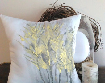 Handmade Pillow, Hand Painted Pillow, Flower Pillow, Easter Pillow, Yellow Spring Pillow, Yellow Pillow, Spring Pillow
