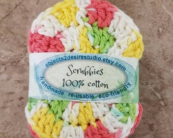 Scrubbies Grab Bag of 5 make-up remover scrubbies  handmade crocheted face scrubbies washable