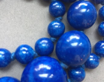 1940's Blue Glass Beads Necklace