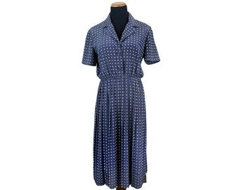 Size S/M 80s Blue Dress Blue Print Dress Blue Midi Dress Button Dress Navy Blue Dress 40s Dress Summer Dress Small Medium Short Sleeve Dress