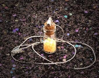 Girls Wishing Fairy Dust Jar Bottle Pendant Necklace - Yellow Stars