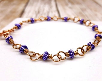 chainmaille bracelet, mobius weave, purple lavender bracelet, wire wrapped jewelry, ladies accessory, flat rate shipping