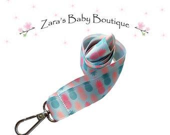 Pink Pineapple Lanyard * Breakaway Lanyard * Child * Adult * Pink * Blue * Badge Holder * ID Holder * USB Lanyard * Key Ring * Keyring * ZBB