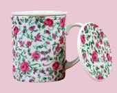Vintage Tea Cup 3 Piece Set w/Strainer and Lid Pretty Pink Floral Gift Set