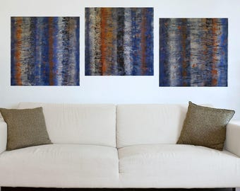 Wood Wall Art - 6 Foot Texture Painting  Abstract Triptych Large Triptych Modern Fine Art  Orange Blue Painting  Large Abstract Painting