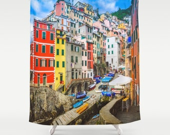 Italy Shower Curtain, Art Shower Curtain, Italy Photography, Cinque Terre, Riomaggiore, Polyester Shower Curtain, Bathroom Decor